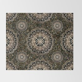 Rose Gold Mandalas with Brown and Copper Sparkles Throw Blanket
