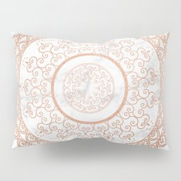Mandala - rose gold and white marble Pillow Sham