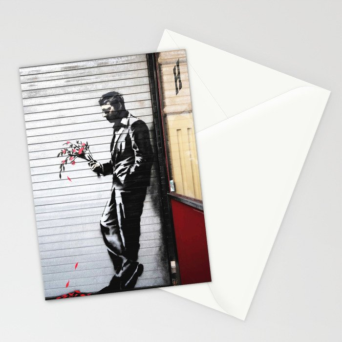 Banksy, Man with flowers Stationery Cards