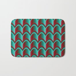 Abstract Green&Red Pattern Bath Mat