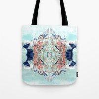 hokusai Tote Bags featuring Hokusai Mandala by PatriciaRoberta