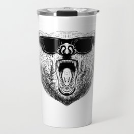 Cool bear with sunglasses Grizzly Party brownbear Travel Mug