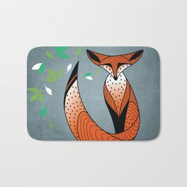 Dame Renard - Grey background with leaves Bath Mat