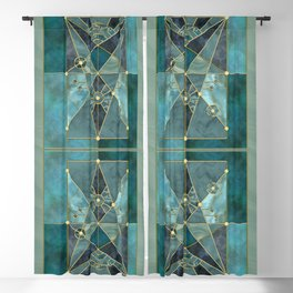 Stained Glass Watercolor Marble Mineral Design Turquoise Teal Gold Blackout Curtain