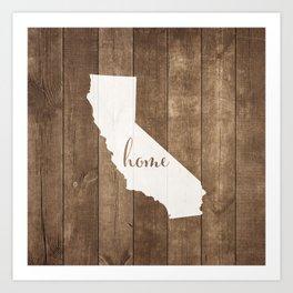 California is Home - White on Wood Art Print