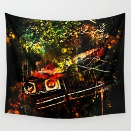lost place rusty american car wreck splatter watercolor Wall Tapestry