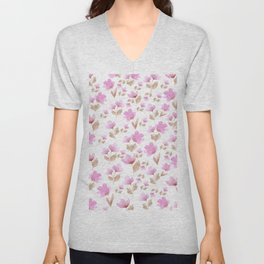 Girly blush pink brown watercolor hand painted floral pattern Unisex V-Neck