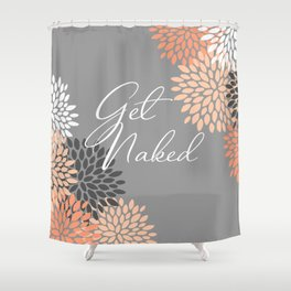 Get Naked Floral Bloom, Coral Gray Shower Curtain