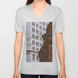 New York City Buildings and Lights (Color) Unisex V-Neck