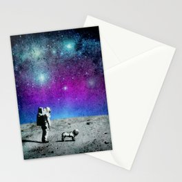 Astronaut walking his dog on the moon Stationery Cards