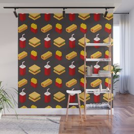 Isometric junk food pattern Wall Mural