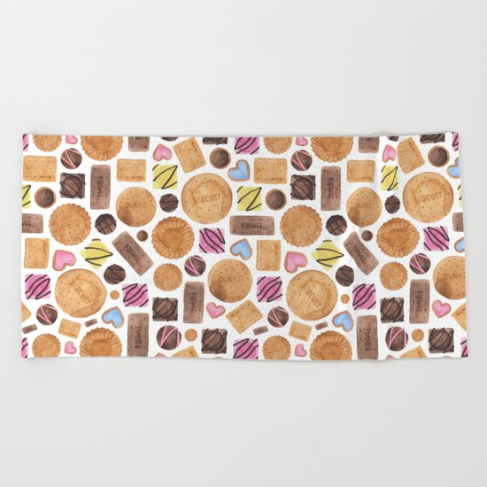 Selection of Sweets, Candy, Cakes and Biscuits Beach Towel