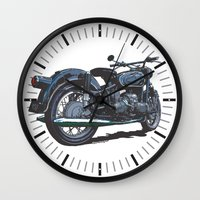 bmw Wall Clocks featuring BMW R50 MOTORCYCLE by Ernie Young
