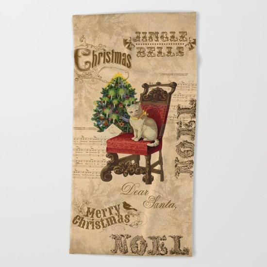 Vintage Christmas Cat Beach Towel