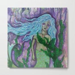 DARK WATERS, Mermaid - mixed media Metal Print