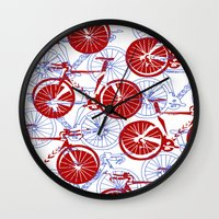 bikes Wall Clocks featuring Bikes by StephanieTara