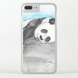 Sleepy Panda Watercolor Clear iPhone Case