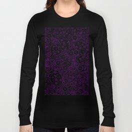 Clockwork PURPLE DREAM / Cogs and clockwork parts lineart pattern Long Sleeve T-shirt