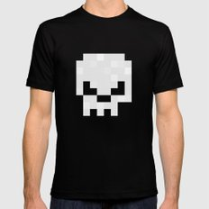 8bit pixelated skull {white}. Mens Fitted Tee Black MEDIUM