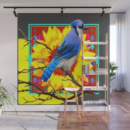 WESTERN  STYLE BLUE JAY YELLOW SUNFLOWER  ART Wall Mural