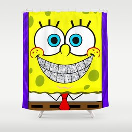 Icey Spongebob With Angry Cheeks Shower Curtain