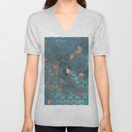 Pink Quartz And Teal Blue Cubes Geometry Pattern Unisex V-Neck