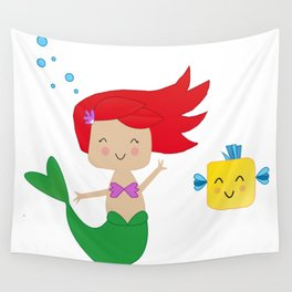 Happy Mermaid Wall Tapestry