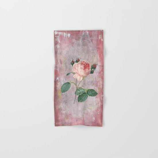 Vintage Rose - on pink grunge backround Hand & Bath Towel