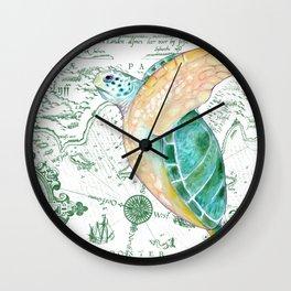Sea Turtle Map Wall Clock