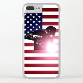Welding: Welder & American Flag Clear iPhone Case