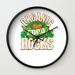 Organic Food Rocks Vegan Vegetarian Wall Clock