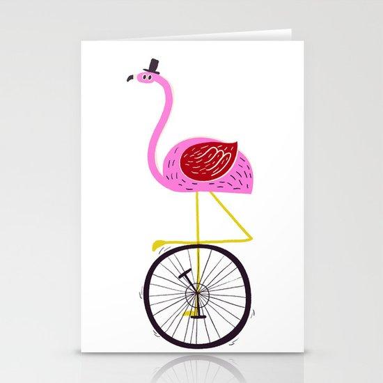 flamingo unicycler Stationery Cards