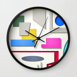colorful shapes 2 Wall Clock