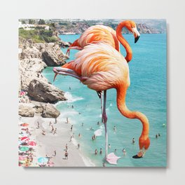 Flamingos on the Beach #society6 #decor #buyart Metal Print