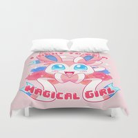 magical girl Duvet Covers featuring Magical Girl Sylveon by Anjila
