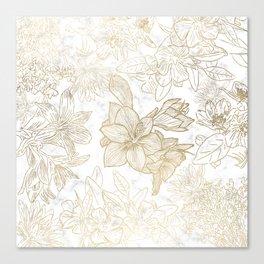 Elegant modern white faux gold marble floral Canvas Print