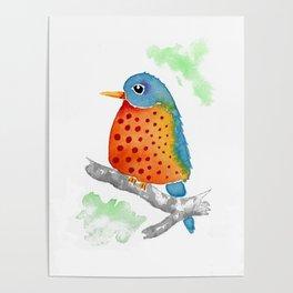 Polka Dot Bluebird Poster