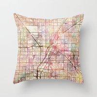 las vegas Throw Pillows featuring Las Vegas by MapMapMaps.Watercolors