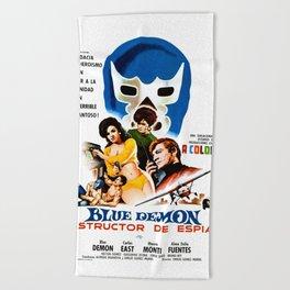 Blue Demon destructor de espias, 1968 (Vintage Movie Poster) Beach Towel