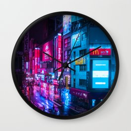 Post Apocalyptic Neon City Blues  - Tokyo Wall Clock