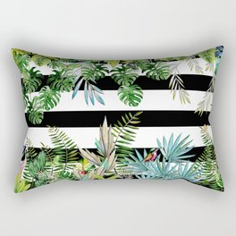 tropical background with animals on striped background Rectangular Pillow
