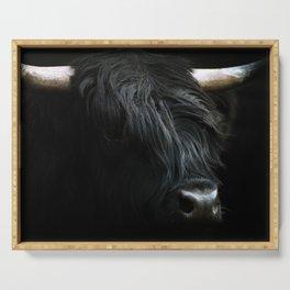 Minimalist Black Scottish Highland Cattle Portrait - Animal Photography Serving Tray