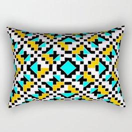 Geometric Inverse Turquoise & Yellow Rectangular Pillow
