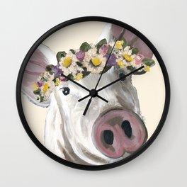 Flower Crown Pig, Creative Pig Art Wall Clock