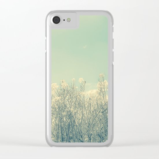 Cotton Candy Wildflowers, Baby Blue Sky Clear iPhone Case