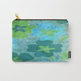 Floral batik in blues and greens Carry-All Pouch