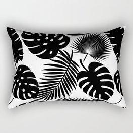 Tropical Leaves - Black on White Rectangular Pillow