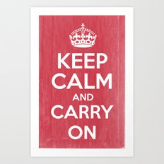 Keep Calm and Carry On - Red Book Art Print