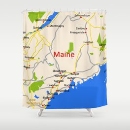 Map of Maine state, USA Shower Curtain