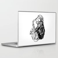 saxophone Laptop & iPad Skins featuring Musician monkey saxophone by Jemma Banks
